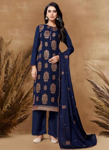 Festival Wear Navy Blue Embroidery Work Upada Palazzo Suit