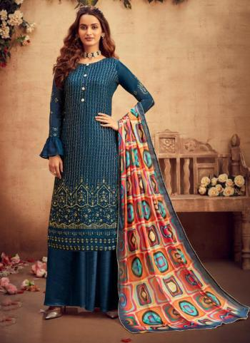 Festival Wear Blue Embroidery Work Pure Viscose Palazzo Suit