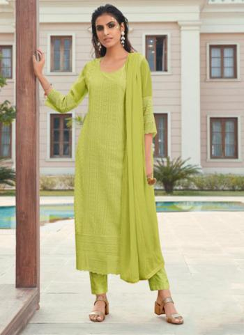 Party Wear Green Embroidery Work Georgette Churidar Suit