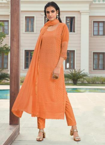 Party Wear Orange Embroidery Work Georgette Churidar Suit