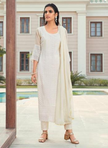 Party Wear White Embroidery Work Georgette Churidar Suit