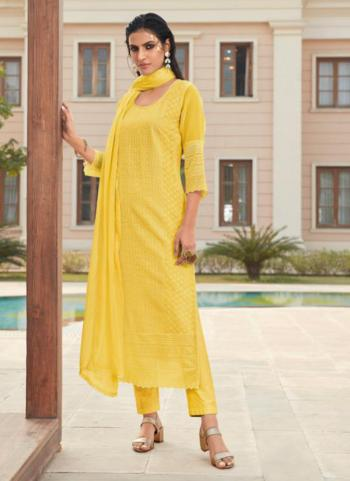 Party Wear Yellow Embroidery Work Georgette Churidar Suit