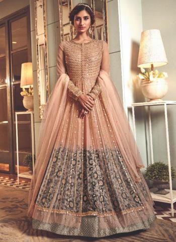 Wedding Wear Peach Heavy Embroidery Work Net Anarkali Suit