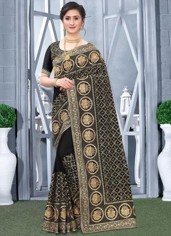 Traditional Wear Black Embroidery Work Vichitra Silk Saree