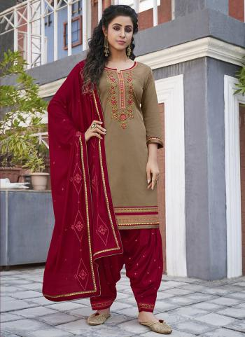 Casual Wear Grey Embroidery Work Cotton Patiyala Suit