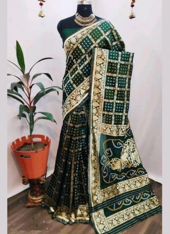 Traditional Wear Green Cotton Silk Bandhani Print Saree