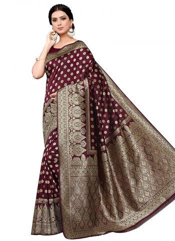 Party Wear Maroon Banarasi Silk Weaving Saree