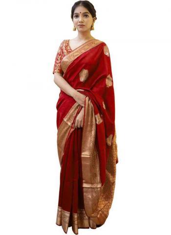 Traditional Wear Red Lichi Silk Weaving Saree