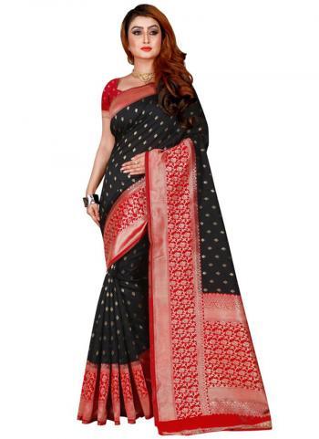 Traditional Wear Black Cotton Silk Jacqaurd Work Saree