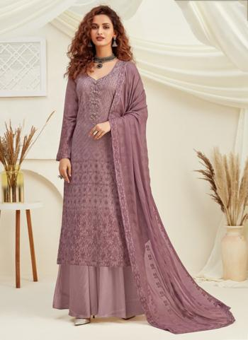 Festival Wear Purple Pure Viscose Chinnon Sequins Work Palazzo Suit