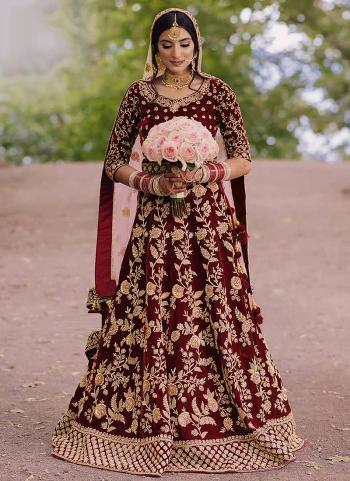 Wedding Wear Maroon Heavy Embroidery Work Velvet Lehenga Choli
