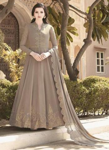 Festival Wear Brown Embroidery Work Soft Georgette Anarkali Suit