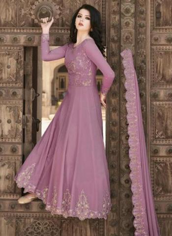 Festival Wear Pink Embroidery Work Soft Georgette Anarkali Suit