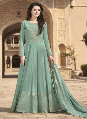Festival Wear Pista Green Embroidery Work Soft Georgette Anarkali Suit