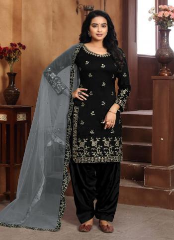 Festival Wear Black Embroidery Work Art Silk Patiyala Suit