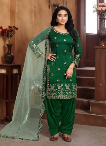 Festival Wear Green Embroidery Work Art Silk Patiyala Suit