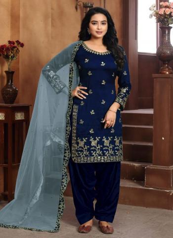 Festival Wear Navy Blue Embroidery Work Art Silk Patiyala Suit