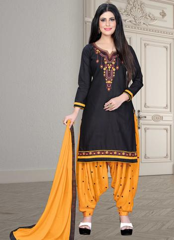 Casual Wear Black Embroidery Work Cotton Patiyala Suit
