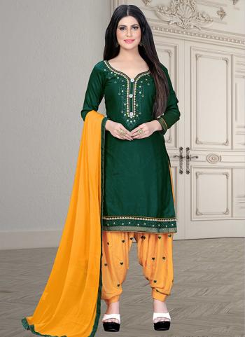 Casual Wear Green Embroidery Work Cotton Patiyala Suit