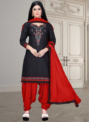 Casual Wear Red Embroidery Work Cotton Patiyala Suit