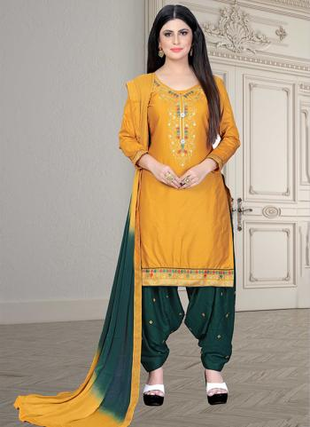 Casual Wear Yellow Embroidery Work Cotton Patiyala Suit