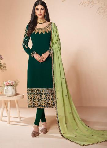 Festival Wear Green Embroidery Work Georgette Churidar Suit