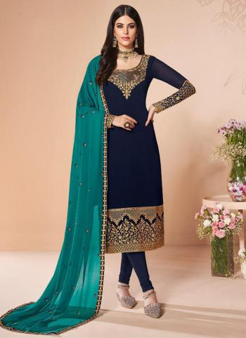 Festival Wear Navy Blue Embroidery Work Georgette Churidar Suit