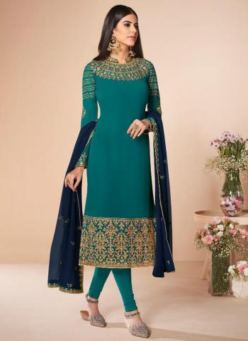 Festival Wear Sky Blue Embroidery Work Georgette Churidar Suit