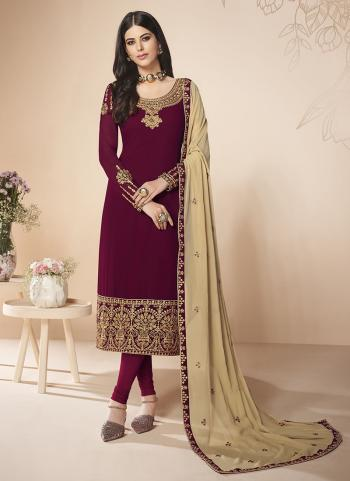 Festival Wear Violet Embroidery Work Georgette Churidar Suit