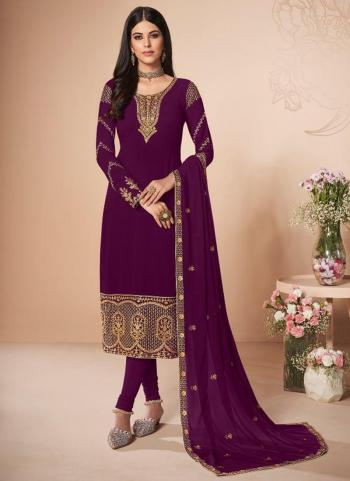 Festival Wear Wine Embroidery Work Georgette Churidar Suit
