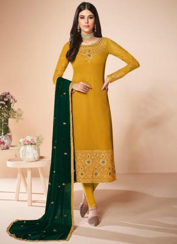 Festival Wear Yellow Embroidery Work Georgette Churidar Suit