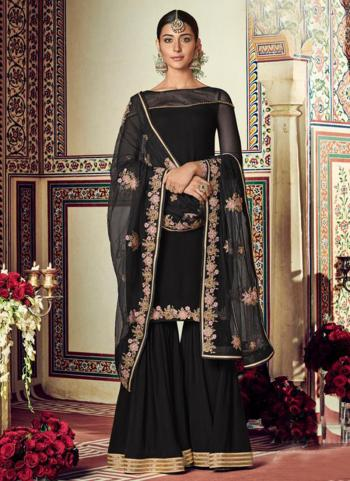 Festival Wear Black Embroidery Work Georgette Sharara Suit