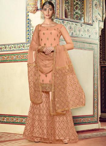 Festival Wear Peach Embroidery Work Net Sharara Suit
