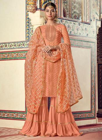 Festival Wear Pink Embroidery Work Viscose Jacquard Sharara Suit