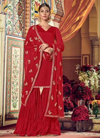 Festival Wear Red Embroidery Work Georgette Sharara Suit