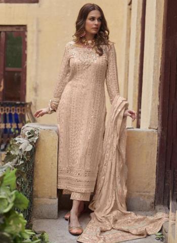 Festival Wear Brown Sequins Work Heavy Georgette Pakistani Suit
