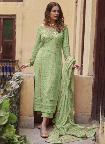 Festival Wear Light Green Sequins Work Heavy Georgette Pakistani Suit