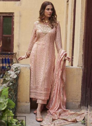 Festival Wear Light Pink Sequins Work Heavy Georgette Pakistani Suit