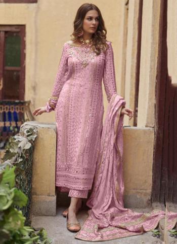 Festival Wear Pink Sequins Work Heavy Georgette Pakistani Suit