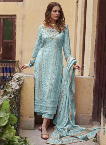 Festival Wear Sky Blue Sequins Work Heavy Georgette Pakistani Suit