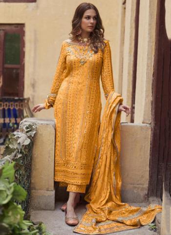 Festival Wear Yellow Sequins Work Heavy Georgette Pakistani Suit