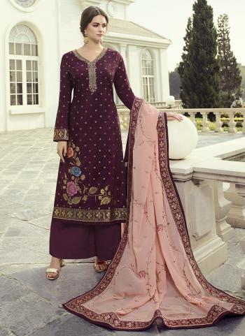 Party Wear Magenta Hand Work Dola Jacquard Palazzo Suit