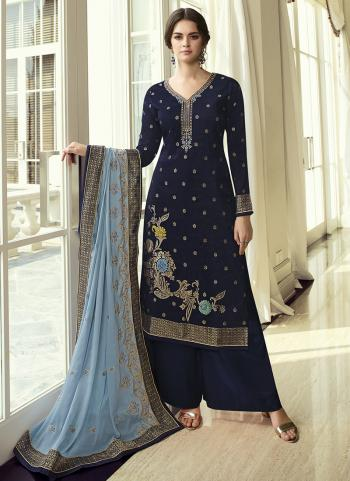 Party Wear Navy Blue Hand Work Dola Jacquard Palazzo Suit