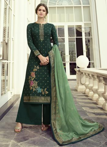 Party Wear Rama Green Hand Work Dola Jacquard Palazzo Suit