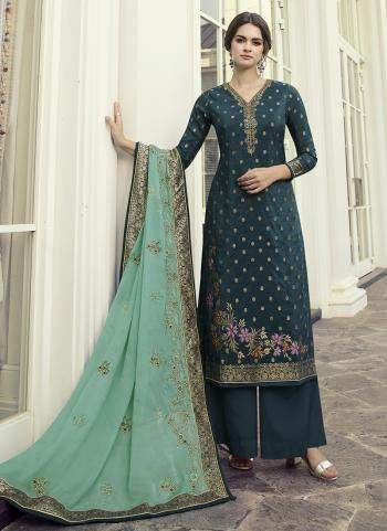Party Wear Rama Hand Work Dola Jacquard Palazzo Suit