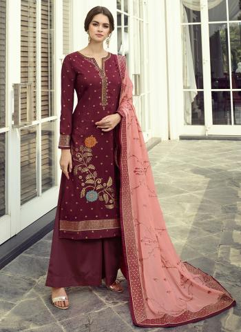 Party Wear Violet Hand Work Dola Jacquard Palazzo Suit