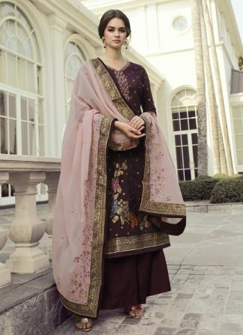 Party Wear Wine Hand Work Dola Jacquard Palazzo Suit