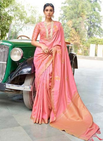 Party Wear Pink Zari Work Banarasi Silk Saree