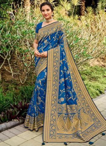Wedding Wear Blue Weaving Silk Saree