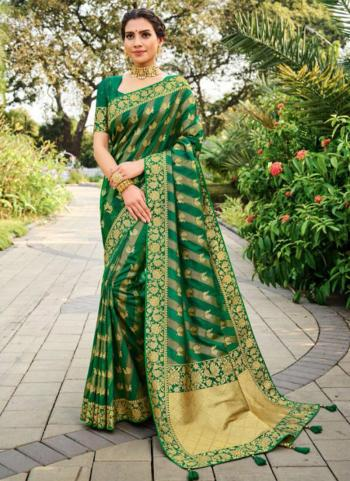 Wedding Wear Green Weaving Silk Saree